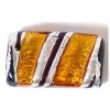 Glass Lamp Bead 22x14mm Rectangle Yellow/Silver